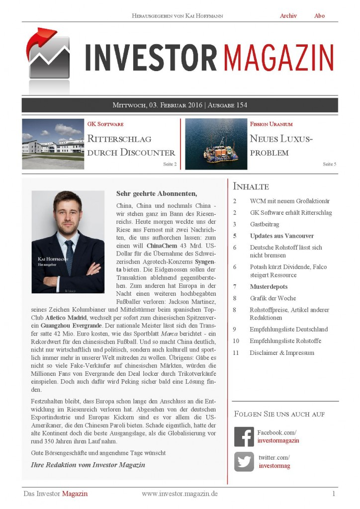 Investor Magazin 154 // WCM, GK Software, Deutsche Rohstoff, Fission Uranium, True Gold Mining, Strategic Metals, Potash Corp., Falco Resources