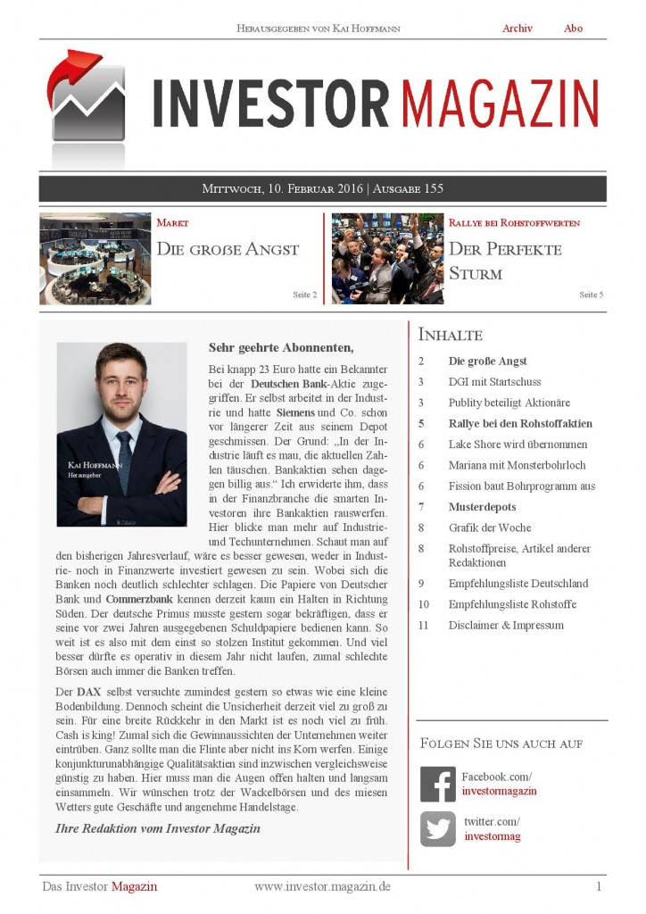 Investor Magazin 155 // DAX, Dow Jones & Co: die große Angst, DGI AG, Publity AG, Lake Shore Gold, Gold, Silber, True Gold, Fission Uranium,…