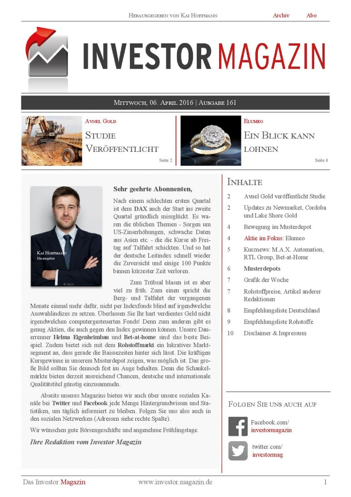 Investor Magazin 161 // Nordex, Capital Stage, bet-at-home, Bastei Lübbe, MAX Automation, RTL Group , Newmarket Gold, Avnel Gold, Cordoba Minerals…