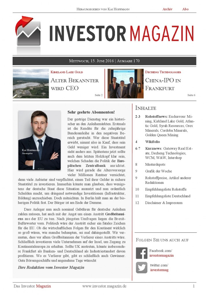 Investor Magazin 170 // WCM, W&W, Intershop, Endeavour Mining, Kirkland Lake Gold, Decheng Technologies, Gateway Real Estate, Syrah Resources, Atlantic Gold, …