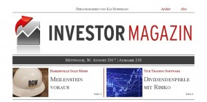 Investor Magazin 218 // Barkerville Gold Mines, Atlantic Gold, Tick Trading Software, FCR Immobilien