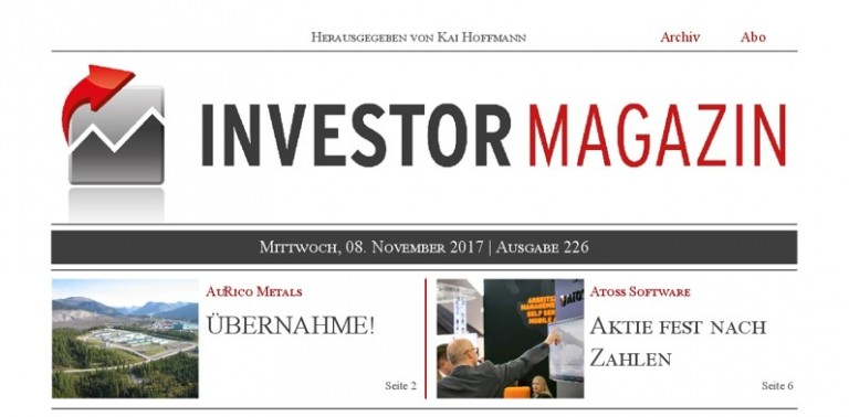 Investor Magazin 226 // AuRico Metals, Barkerville Gold Mines, Atoss Software, SGL Carbon