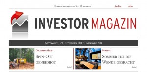 Investor Magazin 228 // Columbus Gold, Surteco, Mensch und Maschine, Liberty Gold, Cartier Resources, Red Pine Exploration
