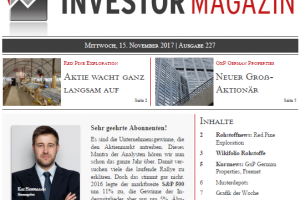 Investor Magazin 227 // Freenet, GxP German Properties, Red Pine Exploration