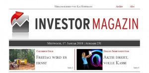 Investor Magazin 231 // Dialog Semiconductor, Columbus Gold, Kirkland Lake Gold, Northern Vertex, Tick Trading Software