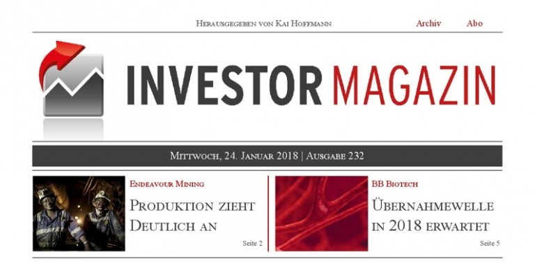 Investor Magazin 232 // BB Biotech, Endeavour Mining, Atlantic Gold, Excellon Resources