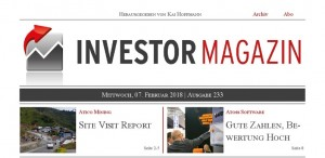Investor Magazin 233 // Site Visit Report: Atico Mining, Atoss Software, FCR Immobilien