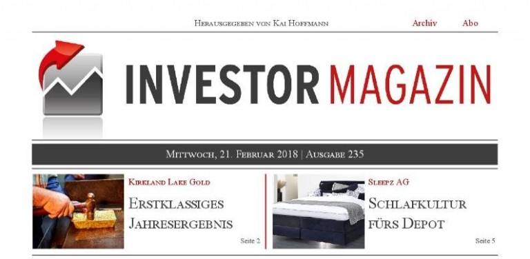 Investor Magazin 235 // Mensch und Maschine, Kirkland Lake Gold, Sleepz AG, Northern Vertex