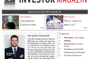 Investor Magazin 245 // Atico Mining, SLM Solution, Homes & Holiday