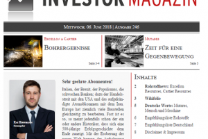 Investor Magazin 246 // Excellon Resources, Cartier Resources, Mutares AG, Mensch und Maschine