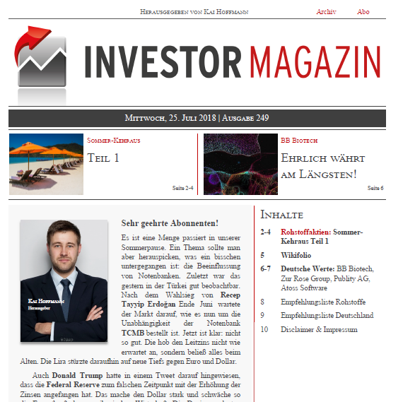 Investor Magazin 249 // Atlantic Gold, Avrupa Minerals, Atoss Software, BB Biotech, Go Gold Resources, Cartier Resources, Deutsche Rohstoff, Endeavour Mining, Zur Rose Group, Publity, Endeavour Silver