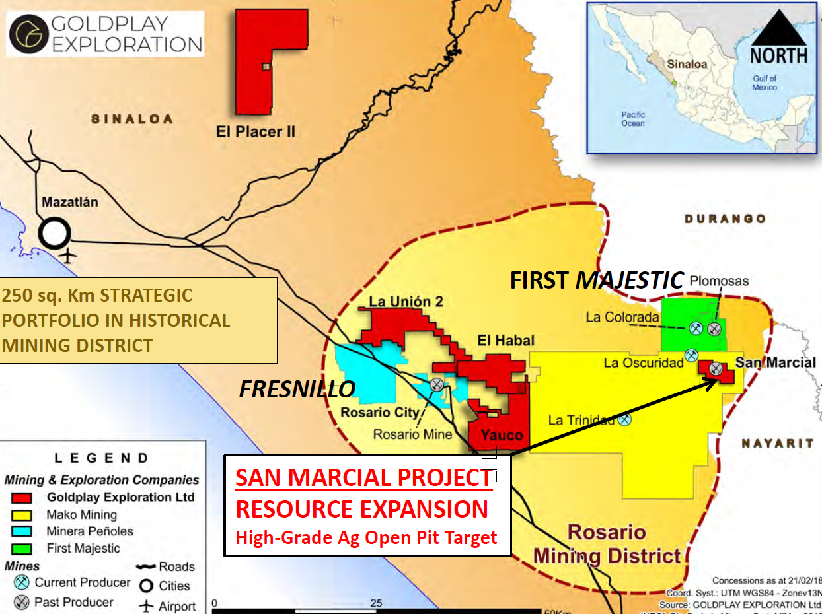 GoldplayExploration_RosarioMiningDistrict_Map_Silver_SanMarcial_May2019